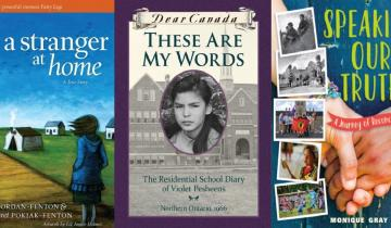 Three of the books featured on the education library website for orange shirt day