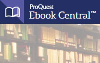 ProQuest Ebook Central logo with photos of shelved books